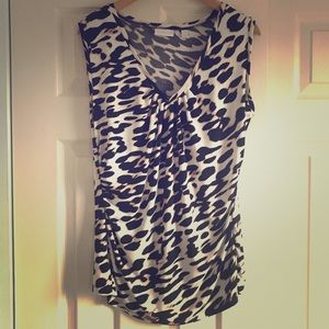 Sleeveless V-Neck Leopard Print Stretch Ruched Top
